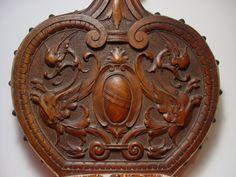 Fine Antique BLACK FOREST CARVED WALNUT WOODEN BELLOWS w/ LION EAGLE S 19thC | eBay