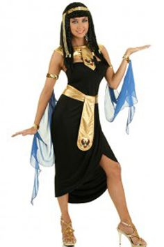 The Atomic Black Cleopatra Inspired Costume features a black dress with a split in front, gold waist belt with an attached puff print apron, matching gold collar with a puff print, arm shrouds, and a gold headpiece. One size fits small and medium. Cleopatra Halloween, Cleopatra Costume, Egyptian Costume, Egyptian Party, Cute Couple Halloween Costumes, Halloween Ideas, Bridal Hair Chain, Evening Hairstyles, Super Hero Outfits