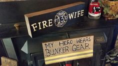 Fire fighter Wooden signs, pallet signs hand painted by Wendy, Speaks Creations