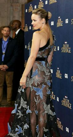 Rachel McAdams see through dress showing off her sexy buttocks