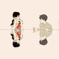 ) by 살구 on Grafolio Art And Illustration, Character Illustration, Manga Art, Anime Art, Romance Art, Cute Couple Art, Korean Art, Cute Icons, Anime Style