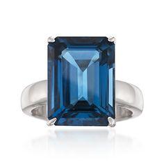 12.30 Carat London Blue Topaz Ring in Sterling Silver
