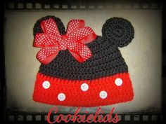 Crochet Minnie Mouse hat with bow by CookieLids on Etsy, $20.00