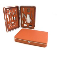 11-Piece Maura Leather Manicure Set in Tan ** Click image for more details.