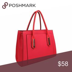 "Front Pocket Satchel Handbag (Red) » Crossgrain Texture » 13.5"" (W) x 10"" (H) x 5"" (D) » 6.5'' Handle Drop » Maximum Shoulder Strap Length: 24'' » Zip Closure » Interior Pockets: 2 x Zip + 2 x Slip with Center Divider » Material: Vegan Leather » Studs on Bottom Bags Satchels"