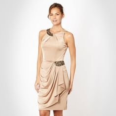 Designer gold asymmetric draped jersey dress