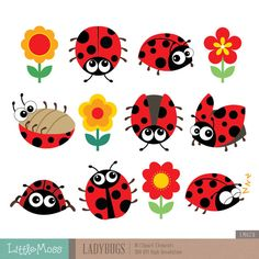Ladybugs Clipart by LittleMoss on Etsy