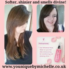 So this morning I found a tip for rose water conditioning your hair before you blowdry it. Check out the results
