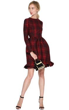 Plaid Long Sleeve Dress With Voulant Cuff And Hem by Valentino Now Available on Moda Operandi
