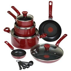 TFal 14 Piece NonStick Scratch Resistant Cookware Set with ThermoSpot Heat Indicator ** Want to know more, click on the image.-It is an affiliate link to Amazon.
