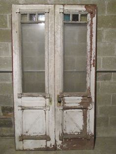 Antique Double Entrance French Doors With Stained Glass 48 X 85 ~ Salvage