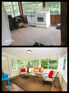 Before and After - Sun Room. Staging your home effectively. See what happens when you paint that paneling! Sell Your House Fast, Selling Your House, Sarah Richardson Home, Home Renovation, Home Remodeling, Fixer Upper House, Home Staging Tips, Sun Room, Cool Rooms