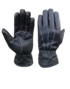 Warm-Men-Leather-Glove-Black-Winter-Genuine-Naked-Cowhide-leather-Full-Finger