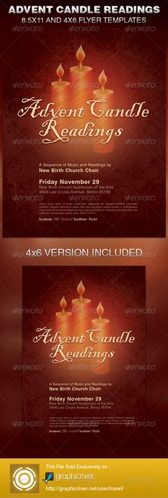 The Advent Candle Readings Church Flyer Template is sold exclusively on graphicriver, it can be used for your Church Events, Sermons, Gospel Concert etc, or for any other marketing projects.
