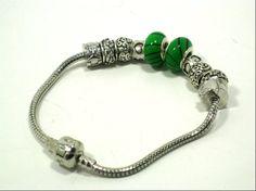 Green European Bead Style Chunky Bracelet by cynhumphrey on Etsy, $17.99