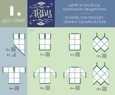 Todo para Crear ... : todo par crear con cuadrados en crochet moldes 1y 2 ..Diagram for joining squares to make tops