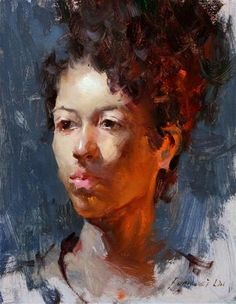 """Daily Paintworks - """"Portrait for Fall 003 - Double Lights"""" - Original Fine Art for Sale - © Fongwei Liu"""