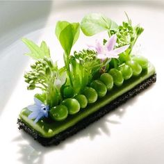 Black trumpet panade, pea puree, sweet peas, and garden herbs by philip tessier Food Design, Design Design, Food Plating Techniques, Modernist Cuisine, Plate Presentation, Star Food, Think Food, Food Decoration, Edible Art