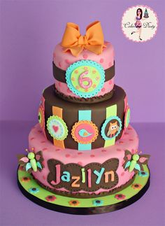 Brown, Pink & Pastels Stripes, Dots, Butterflies, Birds and Hearts Owl Cake (Jazilyn)