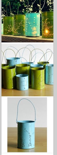 Tin can lanterns, some paint, punch holes. Explore more DIY wedding ideas, how to choose a wedding dress and the best honeymoon destinations on www.mrspurplerose.com