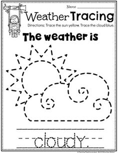 Weather Activities - Planning Playtime : Looking for fun Weather Activities for Kids? This set is packed with hands-on learning fun for a Weather Theme. Includes an Interactive Weather Chart, and so much more. Weather Activities Preschool, Preschool Worksheets, Preschool Activities, Writing Worksheets, Weather Lessons, Weather Worksheets, Homeschool Kindergarten, Homeschooling, Kids Education