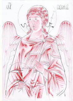 Archangel Gabriel icon, pattern and highlights Religious Icons, Religious Art, Order Of Angels, Crafty Angels, Archangel Gabriel, Byzantine Icons, Cartoon Sketches, Drawing Techniques, Drawing Tips