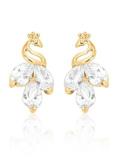 18K Gold Plated Cz Diamond Standing Peacock Earring For Women.
