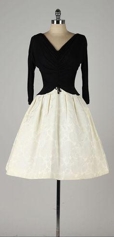 vintage 1950s dress . black rayon crepe . 3/4 by millstreetvintage