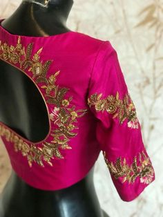 Saree section Pattu Saree Blouse Designs, Bridal Blouse Designs, Maggam Work Designs, Stylish Blouse Design, Designer Blouse Patterns, Sumo, Work Blouse, Simple Embroidery, Hand Embroidery