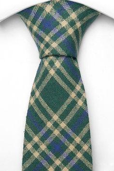 BAMMY Cotton Necktie - Herringbone plaid in green, blue and beige - Notch