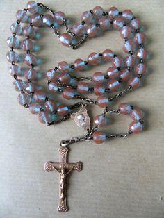 EXCEPTIONNEL et RARE Chapelet perles Saphiret ANCIEN avec CROIX DE MALTE St Jean