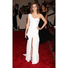 Emma Watson White One Shoulder Custom Prom Dress 2010 Met Ball Red Carpet