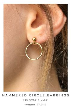 These are the 14K gold filled version, they make the perfect everyday earrings. Also offered in sterling silver, I hand make and lightly hammer each circle for strength and shine. They're light and comfortable and will go with every style. #goldearrings #circleearrings #hoopearrings #openhoops #studearrings #postearrings #birthdaygift #anniversarygifts #womenshoopsearrings #dangleearrings #renascentstudios #handmade #newjewelry #simplejewelry #supporthandmade #earcandy #everydayearrings Layered Jewelry, Trendy Jewelry, Simple Jewelry, Circle Earrings, Dangle Earrings, Latest Jewellery, Crystals And Gemstones, Gemstone Jewelry, Strength