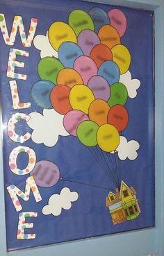 ROI teacher, Dearbhlá, made this gorgeous display for her students. Each balloon… Classroom Display Boards, Classroom Organisation, Classroom Displays, Classroom Themes, Display Boards For School, Bulletin Boards, Nursery Display Boards, Primary School Displays, Class Displays