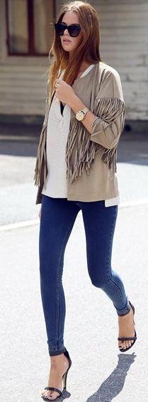 Josefin Ekstrom Tan Suede Fringed Jacket Fall Street Style Inspo