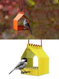 Brdi is a simple bird feeder that comes flat-packed with a hardwood perch and a red braided cord. Made of powder-coated aluminum, it's designed and produced by Onehundred.