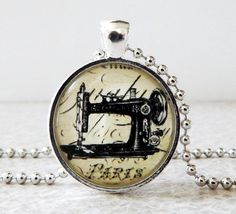 Vintage Sewing Machine Glass Pendant Necklace, antique sewing machine necklacke, steampunk pendant Sewing Room Decor, Antique Sewing Machines, Glass Pendants, Vintage Sewing, Steampunk, Pendant Necklace, Antiques, Unique Jewelry, Handmade Gifts