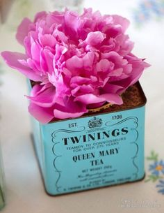 antique tea tin for the flowers