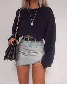 Denim Skirt Outfits For School ★ Cute casual back to school outfit. - - Denim Skirt Outfits For School ★ Cute casual back to school outfits for teens, highschool and for college, to make your first day of schoo. Mode Outfits, Stylish Outfits, Cute Edgy Outfits, Amazing Outfits, Girly Outfits, Short Outfits, Baddie Outfits Casual, Cute Party Outfits, Insta Outfits