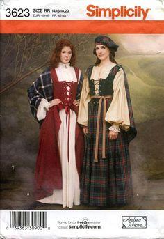 Simplicity Costume Pattern Renaissance Scottish Celtic 3623 Misses Sz 14 20 Simplicity Scottish Costume Celtic Dress Scottish Clothing