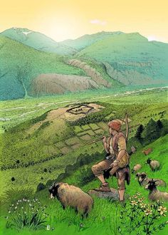 m npc Farmer Farmland Hills Hamlet walled André Houot - Neolithic sheep herder in the Mountains Fantasy Places, Fantasy Art, Ancient Art, Ancient History, Illustrations, Illustration Art, Sword And Sorcery, Iron Age, Expositions