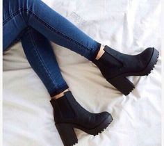 - shoes boots black boots black shoes small heel chelsea boots chunky boots black heels short black h - High Heels Boots, Chunky High Heels, Chunky Boots, Black High Heels, Shoe Boots, Women's Shoes, Jeans Shoes, Black Heeled Boots Outfit, Platform Boots Outfit