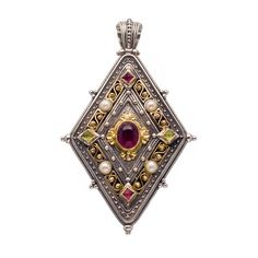 Pendant in 18K Gold, Sterling Silver, Pink tourmaline, Peridot and freshwater pearls. Byzantine Collection #Gerochristojewelry