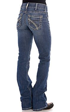 Ariat Women's REAL Hannah Medium Wash Boot Cut Jeans | Cavender's Women's Jeans, Cut Jeans, Country Wear, Lycra Spandex, Stretch Denim, Thighs, Legs, Free Shipping, Medium