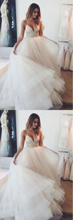 Wedding Dresses,Cheap Wedding Dresses,Bridal Gowns,Bridal Dress,Wedding Party Dress,Beach Wedding Dresses,Wedding Dress Vintage,Wedding Dress Lace,Wedding Dresses Simple,Wedding Dress Mermaid,White Organza Spaghetti Sexy V-neck A-line Long Wedding Party Dresses,SVD528