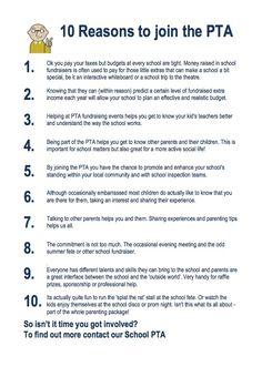 10 reasons to join the PTA http://www.better-fundraising-ideas.com/parent-teacher-association.html
