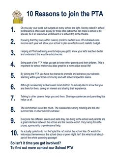 10 reasons to join the PTA http://www.better-fundraising-ideas.com/parent-teacher-association.html