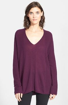 """Free shipping and returns on Vince Directional Ribbed V-Neck Sweater at Nordstrom.com. <p><B STYLE=""""COLOR:#990000"""">Pre-order this style today! Add to Shopping Bag to view approximate ship date. You'll be charged only when your item ships.</b></p><br>A subtle v-neckline is mirrored in the  back of a luxuriously soft cashmere sweater textured with a rib-knit design."""
