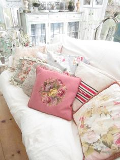 Vintage pink needlepoint pillow with roses by Vintagewhitecottage, $65.00