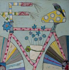 LOVE this amazing artist, Julie Beyer Bike Illustration, Collage Art Mixed Media, Funky Art, Painting Collage, Bicycle Art, Art Journal Inspiration, Whimsical Art, Artist Art, Altered Art